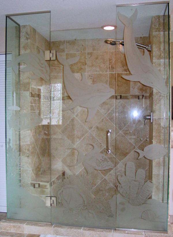 Etched Glass Shower Doors Etched Glass Shower