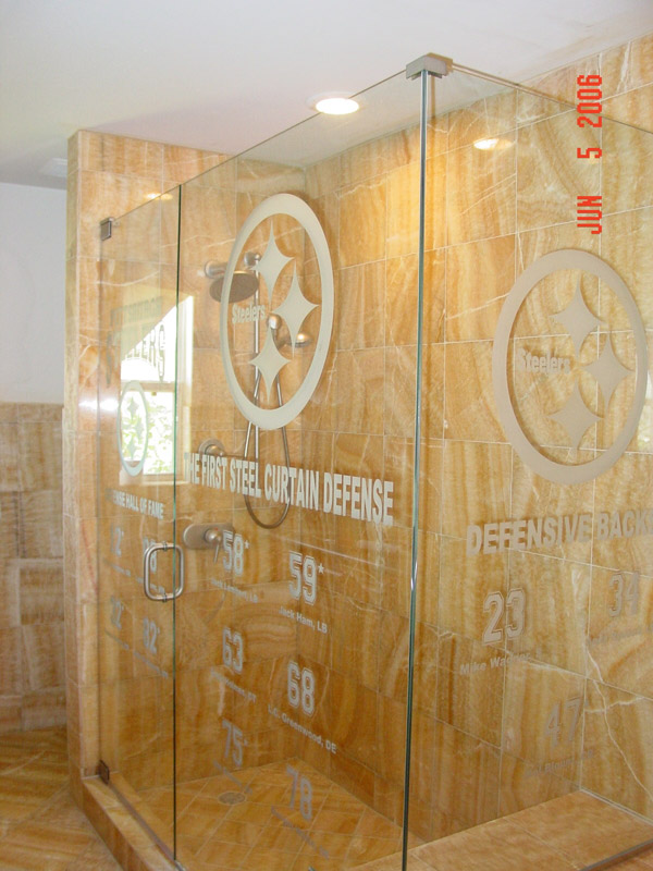 Carved Glass Shower Doors In Fl